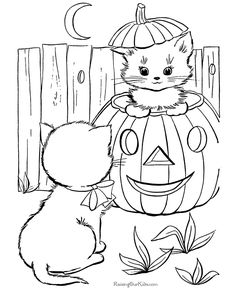 Halloween cats coloring pages - kittens