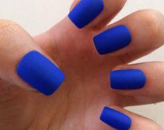 bright blue matte nails