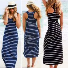 Vestido sin mangas ocasional sin mangas, mujeres O cuello rayado mezcla de algodón de verano Beach Party Maxi largo(China (Mainland))
