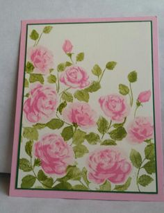 Altenew Vintage Roses and ink with Bubblegum from Umbrella Craft. The green ink is from S.U.. I can now have roses in the winter, thanks you Altenew!