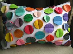 Rainbow Disc Pillow on White by harperjanssen on Etsy, $34.00