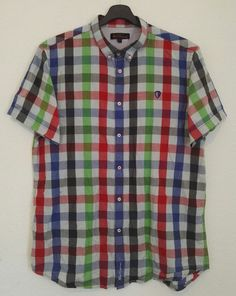 Ben Sherman Mens Shirt Short Sleeve Multi Colour Check Embroidered Logo Size XL