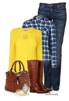 """""""Yellow and Blue for Fall"""" by archimedes16 ❤ liked on Polyvore featuring PRPS, Jaeger, Karen Millen, Sole Society, Michael Kors, Kendra Scott, women's clothing, women, female and woman"""