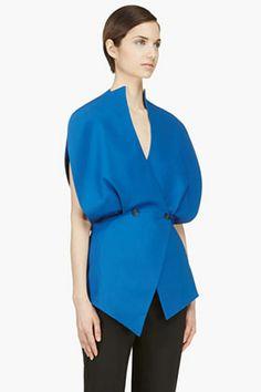MUGLER Blue Asymmetric TWO BUTTON Vest $2125 @SSENSE.com