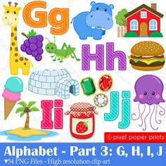 Alphabet Clipart  Part 3 - ABC clip art - GHIJ - School clip art