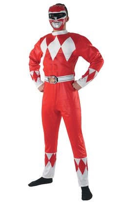 Disfraz Power Rangers™ rojo adulto: Este disfraz de Power Rangers™ rojo para adulto incluye un mono y una semi-máscara.El mono es de color rojo con rombos en el pecho, las mangas y las piernas. Lleva un cinturón...