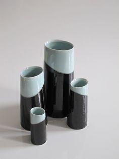 Tenmoku and Celadon Pot for Flowers (Medium) | Chris Keenan