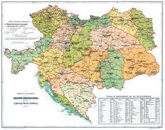 Military Map of the Austro-Hungarian Empire, about 1914. The different colors denote the several military districts of the Imperial and Royal army, each of which contained an army corps and its sub units.
