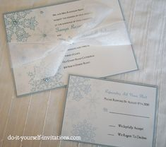 Printable Snowflake Wedding Invitations Template. Print and create your own wedding invitations. With Invites, rsvp, std, programs, place cards and more.