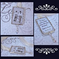 Bridal Bouquet Charm Wedding Memorial Charm Photo Pendant To Tie On Bouquet Personalized Custom Made