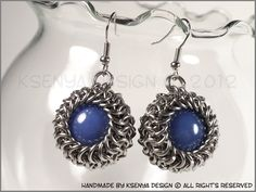 Glass stone + 100% handmade inox wire rings.  Chainmaille technique: Euro 4 in 1 and Euro 6 in 1.    Wrapped stone diameter: 2 cm (0.87'')  Overall earrings height (with hook): 4 cm (1.57'')