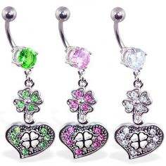 Navel ring with dangling jeweled clover and heart Heart Piercing, Navel, Belly Button Rings, Dangles, Jewelry, Belly Button, Jewlery, Jewerly, Schmuck