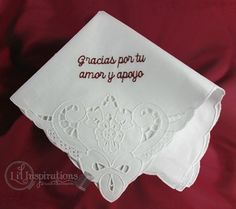 Ladies Cotton Handkerchief Cutwork Design. Created in soft cotton and custom  embroidered with your own personal message to create a one-of-a-kind keepsake gift for your mom, mother of the bride and groom, bridesmaids and occasionally course the bride.