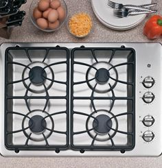GE JGP329SETSS 30″ Wide 4 Sealed Burner Gas Cooktop in Stainless Steel