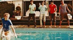 they all were gonna jump, and at the last second faked it nd only Niall went in :] Always happens to me! Thanks guys! :)