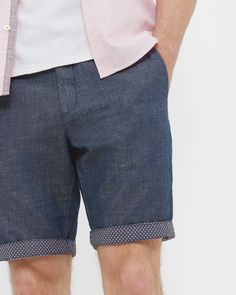 FRISHO Cotton and linen-blend shorts - Navy | Shorts | Ted Baker ROW