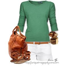 Green 3/4 Sleeve Top, created by uniqueimage on Polyvore