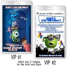 12 - Monsters Inc.  Birthday Party VIP Invitations and or Favors