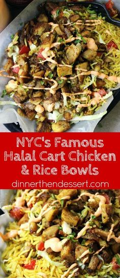 Halal Cart's Middle Eastern Chicken is boldy spiced and served with fragrant Turmeric Rice and spicy yogurt sauce. The perfect copycat of NY cart food.
