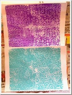 Gel-Printing with Gelli plate -- At youtube you can find lots of videos about gel printing. You can use anything to achieve different effects. Templates and masks (buy them or make them yourself), draw a pattern with a cotton swab, use the webbed bag your oranges come in, stamp with a toilet paper tube, cut simple figures out of paper and put them as a mask on the plate… the possibilities are endless