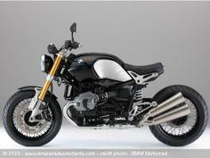 BMW R NineT Peut-être le NICEST road bike que j'ai vu!!! Perso, j'y rajouterait un petit garde boue fixé sous la selle....BMW