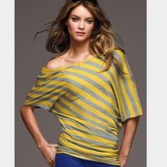 Victoria's Secret Striped Off the Shoulder Tunic * Victoria's Secret  * Size Medium * Lightweight t-shirt fabric * Off the shoulder * Loose fitting at top, a little more fitted through the hip (you can bunch it up at the waist) * Yellow and grey stripes * Short sleeves  Comes from my smoke and pet free home  Victoria's Secret Tops Tunics