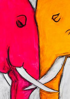 "Painting, ""Two Elephants"" @Saatchi Art #art #painting #AnimalArt #elephants"