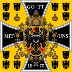 In Germany was unified under Prussian leadership and the German empire was born. This was the Emperor's standard from 1871 until the end of the empire at the close of the First World War in 1918 - Flags of Forgotten Countries - Dark Roasted Blend Flags Of The World, World War One, German Architecture, Masonic Symbols, Military Art, Military History, Total War, Alternate History, Knights Templar