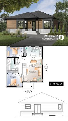 Not a cabin but almost! Small modern rustic plan of 2 bedroom Modern House Floor Plans, Rustic House Plans, Beach House Plans, Contemporary House Plans, Craftsman House Plans, Modern Contemporary, Cabin Plans, Contemporary Bathrooms, Cottage House Plans