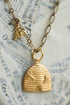 HONEY Bee Necklace Beekeeper Golden BEE Beehive