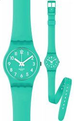 9888fa28b500 Swatch LL115 mint leave turquoise dial turquoise rubber strap women watch  NEW