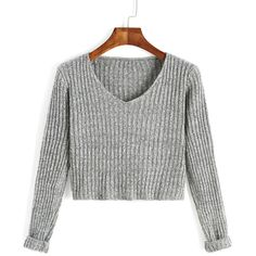 SheIn(sheinside) Grey V Neck Long Sleeve Crop Sweater ($15) ❤ liked on Polyvore featuring tops, sweaters, grey, contest, vneck sweater, gray sweater, loose crop top, sexy crop top and gray v neck sweater