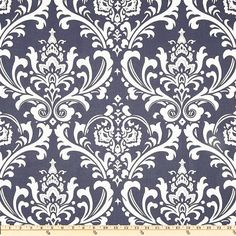 blue Damask Fabric by the Yard  navy Premier Prints ozborne cotton twill Home Decor -  1 yard or more -  SHIPS FAST