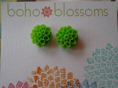 45% off sale with coupon code shopsummer45 !! Lime Green Mum Flower Post Earrings on Etsy, $5.00