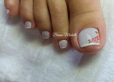 27 Unhas Decoradas com Rosas lindas Pedicure Nail Designs, Pedicure Spa, Manicure And Pedicure, Pretty Toe Nails, Pretty Toes, New Nail Art Design, Nail Art Designs, Nails Design, Feet Nails