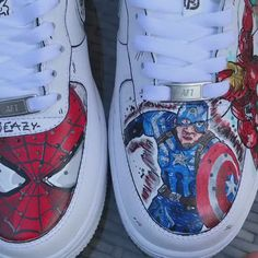 AIRVENGERS so happy with how these came out and had so much fun making them and all the content to go wid it ENJOY💜 Custom Painted Shoes, Custom Made Shoes, Custom Sneakers, Nike Free Outfit, Marvel Shoes, Air Force One Shoes, Nike Air Shoes, Aesthetic Shoes, Nike Af1