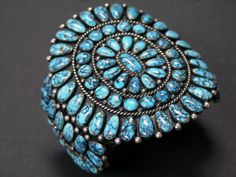 https://flic.kr/p/9wrhdk | Number Eight Turqouise | Circa 1950s Zuni Number Eight Turquoise cluster cuff.