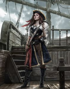 Pirates – Girl, David Benzal on ArtStation Pirate Queen, Pirate Art, The Pirate King, Pirate Woman, Pirate Life, Anime Pirate Girl, Space Pirate, Lady Pirate, Dnd Characters