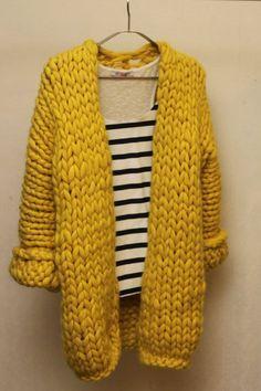 Knitting Patterns Cardigan Yellow cardigan of merino wool summer saleArtículos similares a Yellow knitted cardigan of merino wool en Etsy Knit Cardigan Pattern, Chunky Knit Cardigan, Chunky Wool, Crochet Jacket, Knit Crochet, Cardigan En Maille, Yellow Cardigan, Knit Fashion, Crochet Clothes