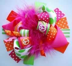 Girls Accessories :: Hair Bows :: Peace Baby Funky Bow - Little girls boutique, baby girl clothes, toddler clothing, kids accessories. | Tutu Spoiled
