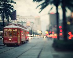 NOLA Nights - New Orleans Photography, Canal Streetcar at Dusk, Lights, Dreamy Urban Wall Art, Red, Blue