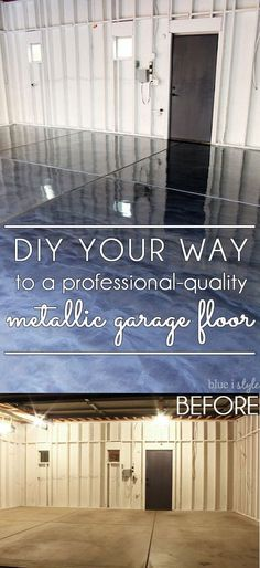 DIY metallic garage floor finish – gorgeous, functional, and more durable than paint or epoxy. Get all the how to details and a photo tutorial. Rust-Oleum RockSolid Metallic Floor Coating Source by summerlashaexo Garage Floor Finishes, Garage Floor Paint, Garage Floor Coatings, Epoxy Garage Floor Coating, Garage House, Diy Garage, Garage Ideas, Small Garage, Garage Shop