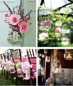 Love the top right, flowers floating in hanging mason jar!