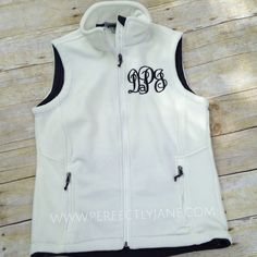 Monogrammed White Vest too cute for Fall!