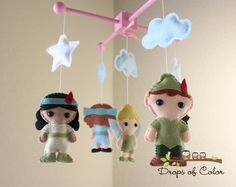 Baby Mobile - Baby Crib Mobile - Peter Pan Mermaid Mobile - Nursery Peter Pan Mobile - Girl Style (You Pick The Characters of your choice) on Etsy, $95.00