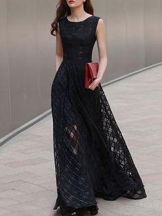 Big Swing Slash Neck Plaid Plain Maxi-dress Maxi Dresses from fashionmia.com