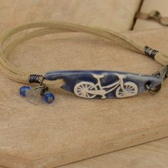 Handmade Blue Ceramic Bicycle Bracelet Bar with Faux Suede & Czech Beads £13.00