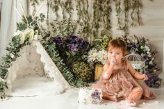 Cake Smash - Flowers - Floral - Garden - Purple - White - Green - Boho - First Birthday - One Year - Milestone - Photography Session - Studio - IL - Northern IL - Illinois - Ingleside - Lake County Boho Green, Cake Smash, Illinois, First Birthdays, Ann, Flower Girl Dresses, Studio, Purple, Wedding Dresses