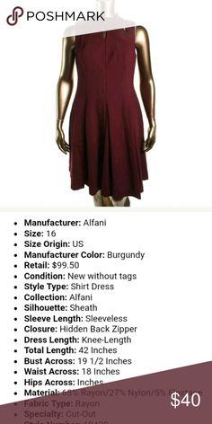 NWT Alfani Burgundy Cutout Dress SZ 16 NWT Alfani dress with adorable cutouts on the collar. Rich burgundy color tag size 16 Alfani Dresses
