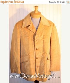 50% Off SALE Vintage Camel McGregor Sportswear Corduroy Rancher Coat Jacket Car Coat Sz 44